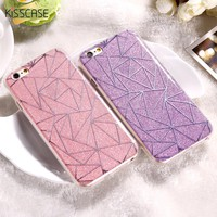 KISSCASE Phone Cases For iPhone 7 6 6s Plus 5S SE Case Shiny Bling TPU + PC Cover Coque For Huawei P10 Plated Sliver Case