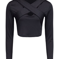 Black Cross Front Long Sleeve Crop Top