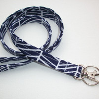 Lanyard ID Badge Holder - navy blue herringbone - Lobster clasp and key ring
