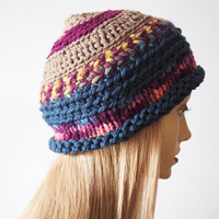 Ready to ship - Multicolor cloche - Blue hat - Chunky knit hat - Teen girl hat - Crochet womans hat - Fashion knit hat - Crochet cloche
