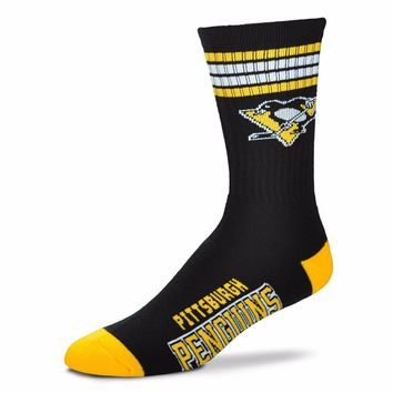 PITTSBURGH PENGUINS 4 STRIPE BLACK CREW SOCKS SIZE YOUTH NEW FOR BARE FEET