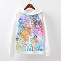 Women's Fashion Print Hats Casual Fleece Hoodies [9101513927]