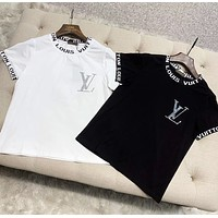 LV New fashion letter print couple top t-shirt Black