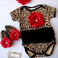Leopard black tutu Onesuits  Baby  Onesuit , headband and shoes  Set, ,Girl romper.