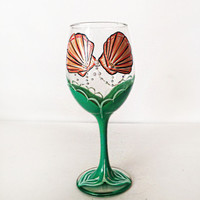 Mermaid Wine Glass - Pearls - Rhinestones - 20 oz