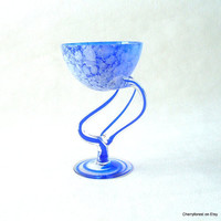 Polish Art-glass, compote from Jozefina Krosno. cobalt blue and white .