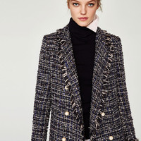 LONG TWEED JACKET WITH PEARL BEADS