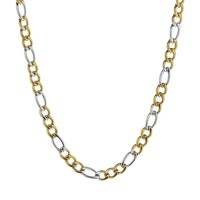 Two Tone Ion-Plated Stainless Steel Figaro Chain Necklace - 20 in. - Men (Silver)