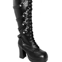 Demonia Removable Straps Lace-Up Boots