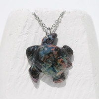 Sea turtle pendant Pottery pendant  rainbow galaxy pattern