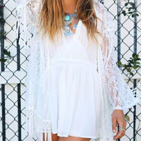 Fringed Dress White Lace Crochet Hollow Bat Long Sleeve Sunscreen Cover-up Smock
