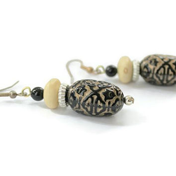 Asian Style Bead Dangle Earrings Gold, Black, Cream, And Silver, Light Weight