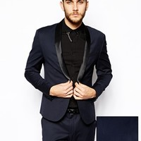 ASOS Skinny Fit Navy Tuxedo Jacket with Shawl