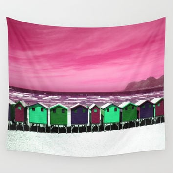 Wooden Houses on the Beach Wall Tapestry by Aloke Design