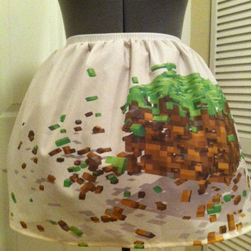 Minecraft inspired full skirt - New fabric - made to order