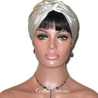 Handmade Leather Turban, Champagne, Metallic