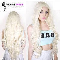 Vegaswigs Natural Wavy Highlight Perruque Blonde Wig Hairline Lady GaGa Long Style Medium Synthetic Lace Front Wigs Cosplay Wigs