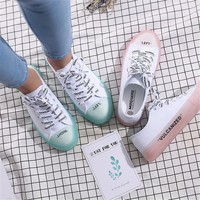 Women's Vulcanize Shoes Crystal sole Canvas Shoes women Lace up Women Shoes Platform Breathable White Board Shoes women sneakers