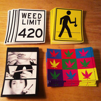 Weed Stickers (Set #1)  - Cannabis Weed Ganja sticker - Dab Art - Pot Leaf leaves - 420 Print - Marijuana slaps - Bong Gear - blunt girl