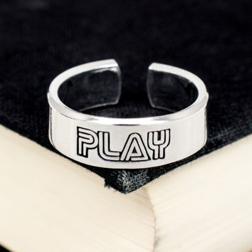 Retro Play Ring - Classic Video Game Jewelry - Adjustable Aluminum Cuff Ring