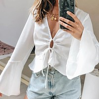 2020 new women's lotus leaf sleeves V-neck straps all-match fashionable cardigan top