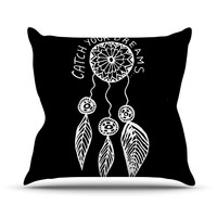 """Vasare Nar """"Catch Your Dreams Black"""" White Typography Outdoor Throw Pillow"""
