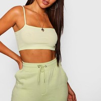 Rib Strappy Crop Top | Boohoo