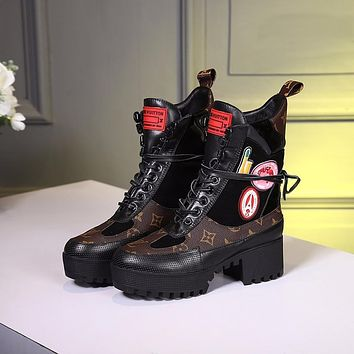 lv louis vuitton trending womens black leather side zip lace up ankle boots shoes high boots 322