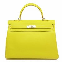 Hermes Candy Kelly 25 SHW Satchel Bag Epsom Leather Lime / Yellow 5162