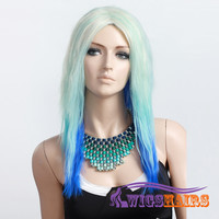 """18"""" long Straight without Bangs Synthetic Wigs for Women Basic Cap Colorful"""