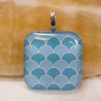 """Blue Abstract Waves- Glass Pendant - 1.3"""" Sq"""