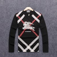 Burberry spring and autumn men's clothing fashion round neck long-sleeved sweater black