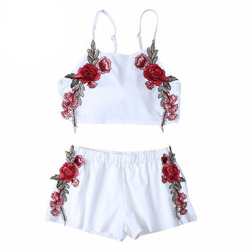 Summer Floral Rose Embroidery White Crop Top and Shorts Set