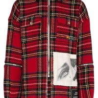 Red Zip Flannel Jacket by Palm Angels