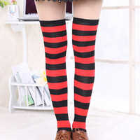 Red and Black Striped Over-the-Knee Socks