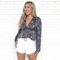 Unrequited Love Charcoal Floral Peplum Blouse