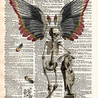 Dark Fairy, skeleton fairy, skeleton oddity, dictionary page book art print