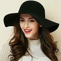 Women's Wide Brim Felt Fedora Cloche Hat (12 Colors)
