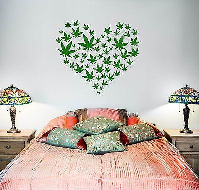 Image of Wall Vinyl Weed Marihuana Love Heart Mural Vinyl Decal Unique Gift (z3385)