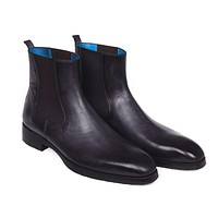 Paul Parkman (FREE Shipping) Black & Gray Chelsea Boots (ID#BT661BLK)