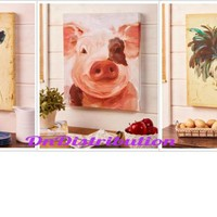Farm Animal Wall Art Painting Cow Pig Rooster Rustic Country Farmhouse Decor