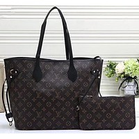 LV Louis Vuitton Women Shopping Leather Tote Handbag Shoulder Bag Purse Wallet Set Two-Piece-1