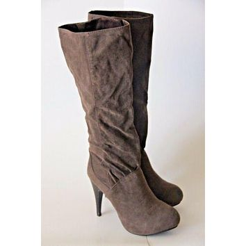 Women's Taupe Dark Brown Knee High 3 in Heels Stiletto Boots Casual NEW