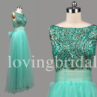 Long IBeaded Prom Dresses Shinning Crystal Party Dresses Evening Dresses Wedding Occasions