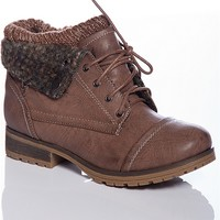 Refresh Ice Breaker Faux Leather Lace Up Sweater Cuff Boots - Taupe