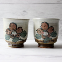 Vintage Pair of 2 Handmade Ceramic Stoneware Earthenware Flower Coffee Mug Tea Cups | Hipster Bohemian Boho Chic