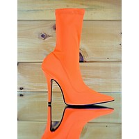 """CR Neon Orange Pull On Stretch Extreme Pointy Toe Ankle Boot 4"""" High Heels"""