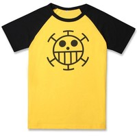 Anime One Piece Trafalgar Law T-Shirt Cosplay Costume Yellow Short Sleeve Cartoon Fashion Tee Shirts Daily Casual Tops