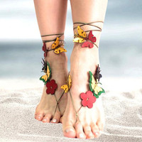Barefoot beach jewelry, leather flower butterfly barefoot sandals, boho anklet, hippie sandals, foot jewelry, toe thong, festival accessorie