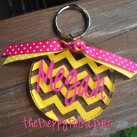 Personalized CHEVRON Monogram Key Chain